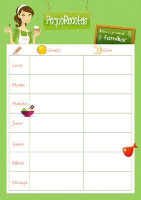 Plantilla de men semanal familiar lengua de signos espa ola for Planificador cocinas gratis