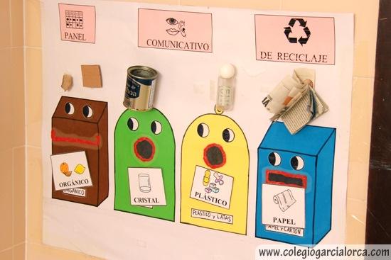 Poster con los dibujos de diferentes contenedores y sobre cada el objeto correspondiente.